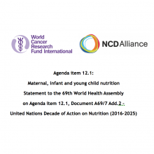WHA69 Agenda item 12.1 Document A69/7 Add.2 – UN Decade of Action on Nutrition