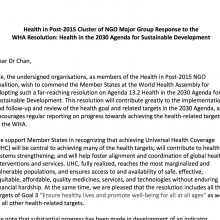 Health in Post-2015's response letter to the WHA resolution on health in the 2030 Agenda (June 2016)