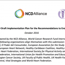 Joint Response: WHO Draft Implementation Plan for the Recommendations to End Childhood Obesity (ECHO) 2016