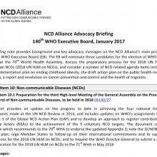 NCDA Advocacy Briefing for the 140th session of the WHO Executive Board