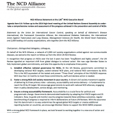 Statement: Progress on NCD prevention and control