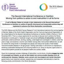 ICN2: Call to action on nutrition & NCDs