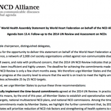 Statement: Follow-up to the 2014 UN Review and Assessment on NCDs