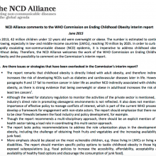 Comments to the WHO Commission on Ending Childhood Obesity interim report