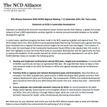 Statement on NCDs in Sustainable Development