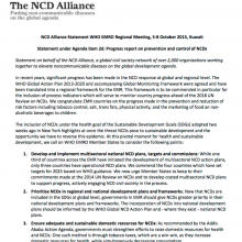 Statement: Progress report on prevention and control of NCDs