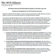 Statement: NCD prevention and control
