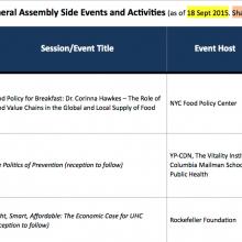 Calendar: UNGA 70th Session