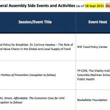 Calendar: UNGA 70th Session