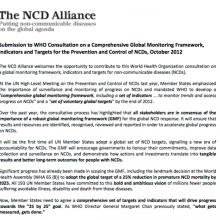 Submission on a Comprehensive Global Monitoring Framework, Indicators and Targets for the Prevention and Control of NCDs