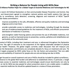 Striking a Balance for People Living with NCDs Now