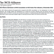 NCD Alliance Submission to WHO Consultation on NCD Action Plan Indicators, 8 November 2013