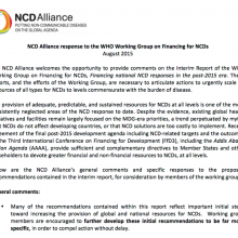 NCD Alliance response to the WHO Working Group on Financing for NCDs