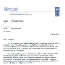 First UNDP/WHO joint letter on NCDs
