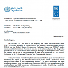 Second UNDP/WHO joint letter on NCDs
