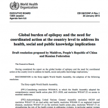 Draft resolution: Agenda item 6.6 on global burden of epilepsy