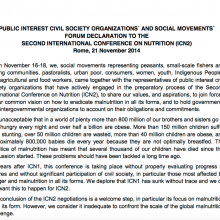 ICN2: Civil Society Declaration on Nutrition