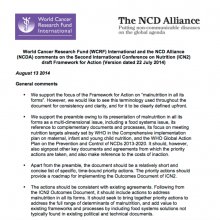 ICN2: WCRFI and NCD Alliance comments on draft Framework for Action