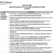 Summary Table: Outcome Document of the UN High-Level Review on NCDs