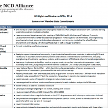 UN High-Level Review on NCDs, 2014 Summary of Member State Commitments