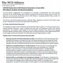 UN NCD Review Zero Draft Outcome Document, 15 June 2014: NCD Alliance Analysis and Recommendations