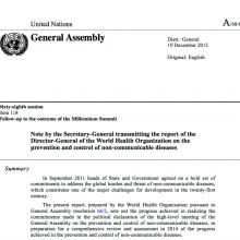 UN Secretary-General's Report on Progress on NCDs