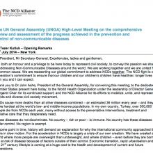Mr Tezer Kutluk – Opening Remarks: UNGA High-Level Meeting on NCDs