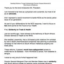 Dr Sandeep Kishore – Statement: UNGA High-Level Meeting on NCDs