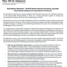 """NCD Alliance Statement – UN NCD Review Outcome Document, """"Unprecedented challenges need unprecedented commitments"""""""