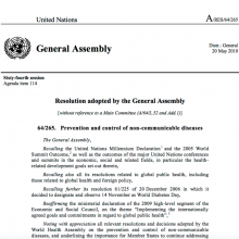 UNGA Resolution on NCD prevention and control