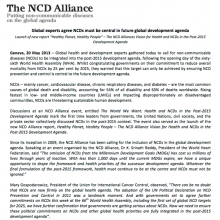 Global experts agree NCDs must be central in future global development agenda