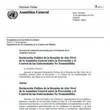 Declaración Política de la Reunión de Alto Nivel de la Asamblea General sobre la Prevención y el Control de ENT