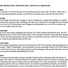 Post UN High Level Meeting on NCDs - Key advocacy messages