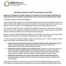 NCD Alliance Statement at 138th Executive Board: Preparations for the third UN High-level Meeting on NCD prevention and control