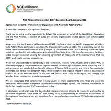NCD Alliance Statement at the 138th Executive Board: Framework for Engagement with Non-State Actors