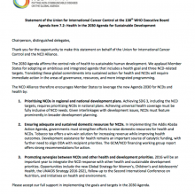 Statement at the 138th Executive Board: Health in the 2030 Agenda for Sustainable Development
