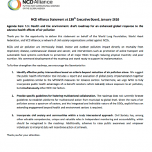 NCD Alliance Statement at 138th Executive Board: Health and Air Pollution