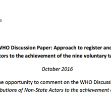 NCD Alliance Response on the proposed WHO Register of Contributions of NSAs