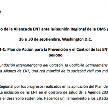 Posicionamiento sobre las ENT ante la OMS/OPS - Reunión de Comité Regional 2016