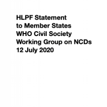 HLPF Statement to Member States - WHO Civil Society Working Group on NCDs