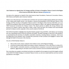 Joint Statement on Agenda item 14: Strategy and Plan of Action to Strengthen Tobacco Control in the Region of the Americas 2018-2022: Mid-term Review (CD58/INF/14)
