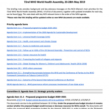 NCDA Advocacy Briefing for 72nd World Health Assembly 2019 (WHA72)