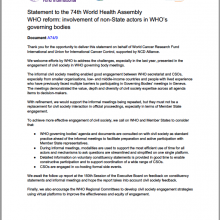 74th WHO World Health Assembly Joint Statement on WHO Reform: Involvement of non-State actors in WHO goverining bodies