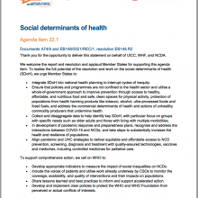 WHA74th WHO World Health Assembly Joint Statement on Agenda Item 22.1: Social Determinants of Health