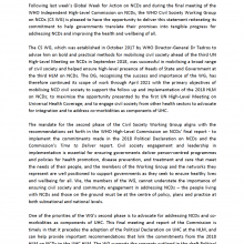 Statement of the WHO Civil Society Working Group on NCDs 9 September 2019