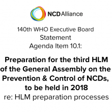 140th WHO EB: Agenda Item 10.1: Preparation for the third High-level Meeting of the General Assembly on the Prevention and Control of NCDs, to be held in 2018 - Statement on preparation processes