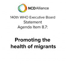 140th WHO EB: Agenda Item 8.7: Promoting the health of migrants - Statement