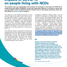 Briefing Note: Impacts of COVID-19 on people living with NCDs