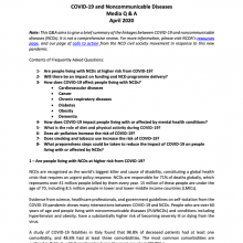 COVID-19 and Noncommunicable Diseases (NCDs): Questions and Answers