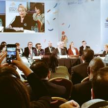 Chilean President Michelle Bachelet speaks at the Global conference on NCDs, Montevideo, Uruguay.